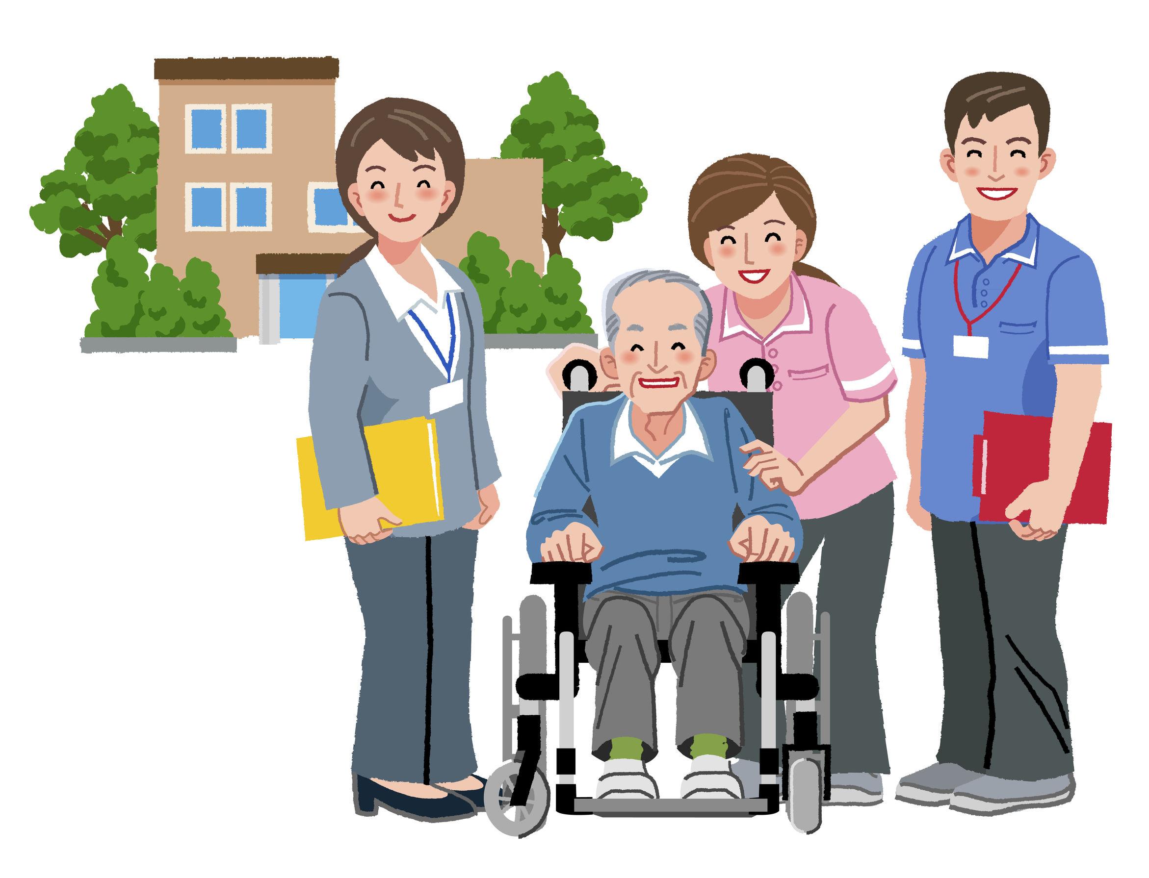Ilustración personal de residencia con anciano en silla de ruedas