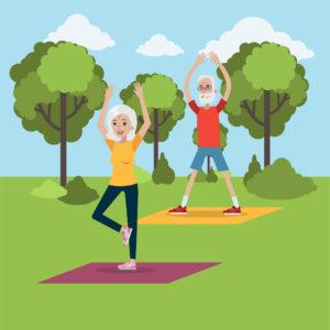 Dibujo de 2 personas mayores en un parque haciendo gimnasia
